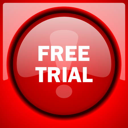 free trial red icon plastic glossy button
