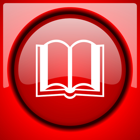 guestbook: book red icon plastic glossy button