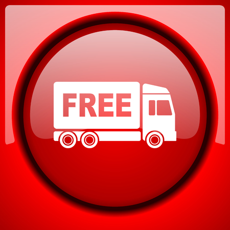 deliverance: free delivery red icon plastic glossy button