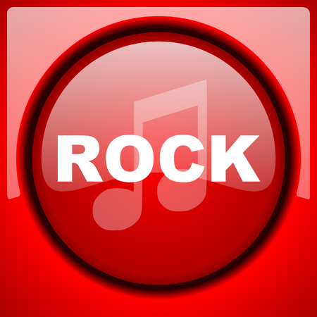 listen to music: rock music red icon plastic glossy button