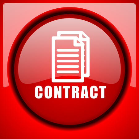 contract red icon plastic glossy button Stock Photo
