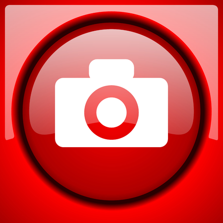camera red icon plastic glossy button