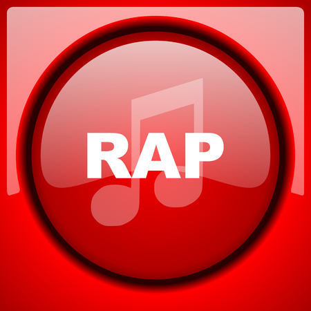 rap music: rap music red icon plastic glossy button Stock Photo