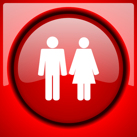 couple red icon plastic glossy button Stock Photo