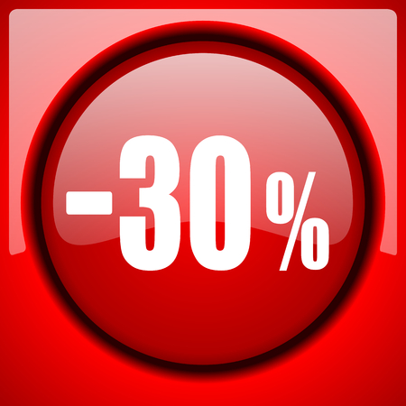 30 percent sale retail red icon plastic glossy button Stock Photo