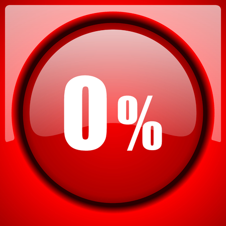 0 percent red icon plastic glossy button