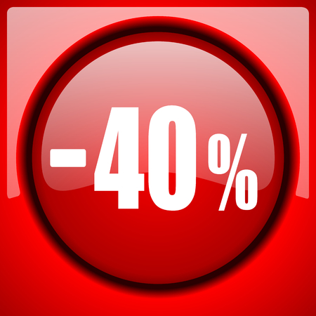 40 percent sale retail red icon plastic glossy button