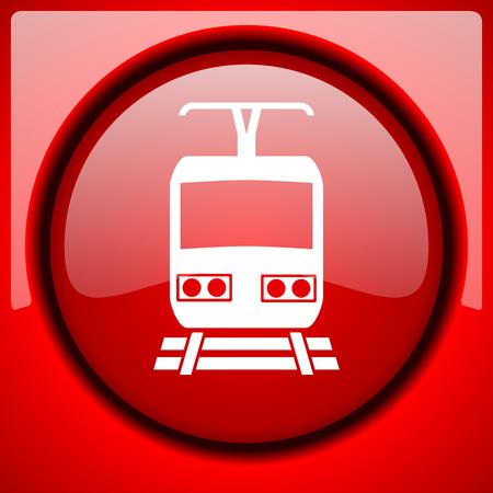 train red icon plastic glossy button Stock Photo
