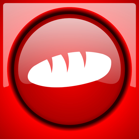 bread red icon plastic glossy button Stock Photo