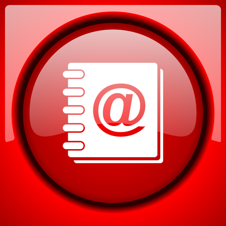 address book: address book red icon plastic glossy button Stock Photo