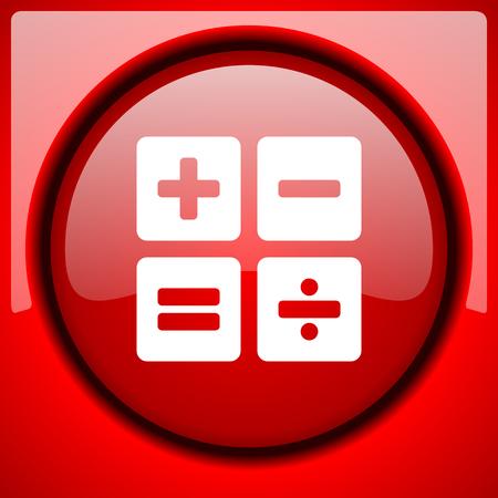 compute: calculator red icon plastic glossy button