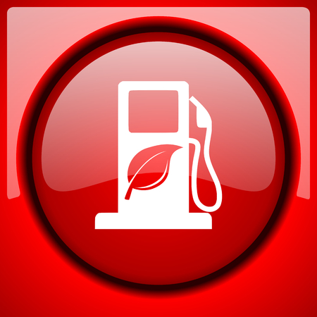 biofuel red icon plastic glossy button Stock Photo