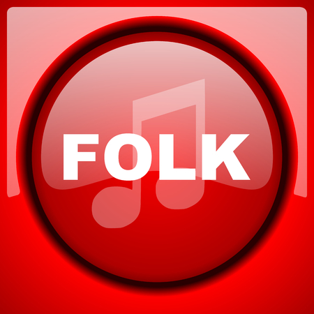 folk music red icon plastic glossy button