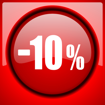 10 percent sale retail red icon plastic glossy button Stock Photo