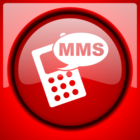mms icon: mms red icon plastic glossy button