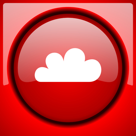 cloud red icon plastic glossy button