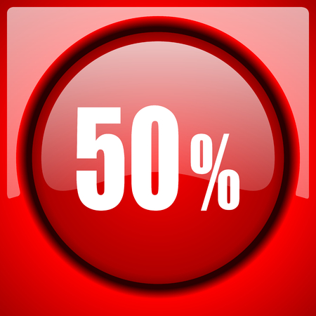 bargaining: 50 percent red icon plastic glossy button