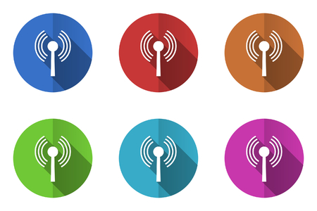Set of flat wifi vector icons