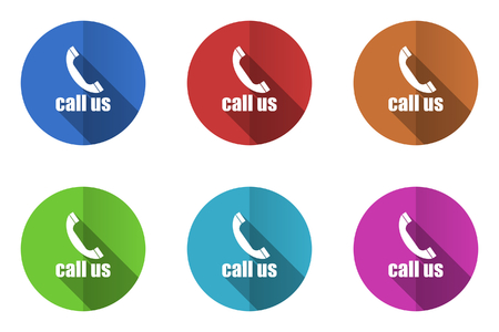 call us: Set of flat vector icons. call us icon