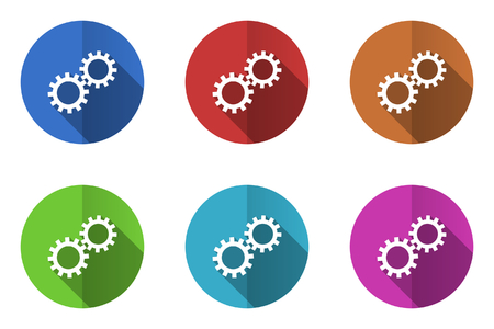 gears icon: Set of flat vector icons. gears icon