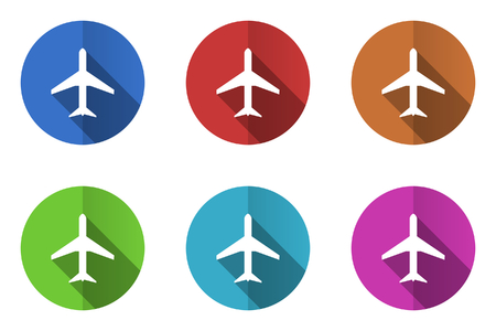 icon red: Set of flat vector icons Illustration