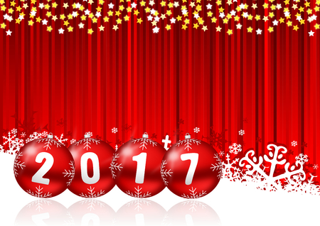 newyear: 2017 new years illustration with snowing and christmas balls Stock Photo