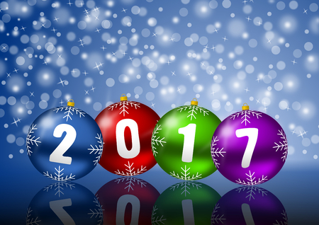 2017 new years illustration with snowing and christmas balls Stock Photo