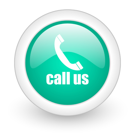 call us: call us round glossy web icon on white background