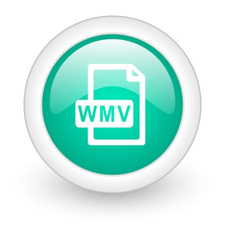 wmv: wmv file round glossy web icon on white background Stock Photo