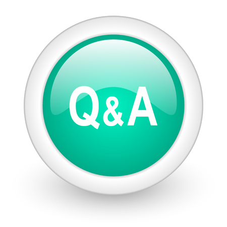 question and answer: question answer round glossy web icon on white background Stock Photo