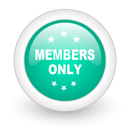members only: members only round glossy web icon on white background Stock Photo
