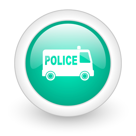 deputy sheriff: police round glossy web icon on white background Stock Photo