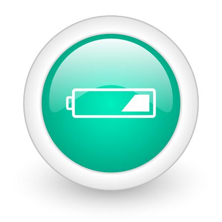 accuse: battery round glossy web icon on white background Stock Photo