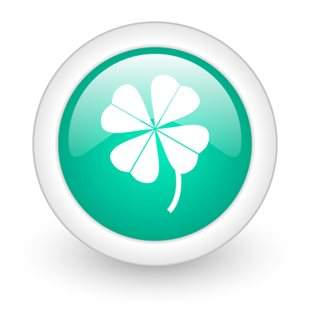 four-leaf clover round glossy web icon on white background