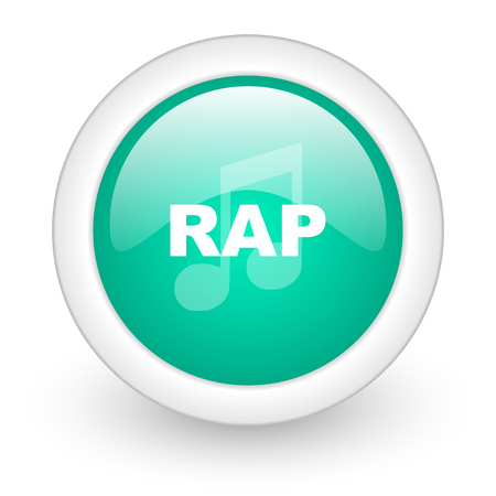 rap music: rap music round glossy web icon on white background Stock Photo