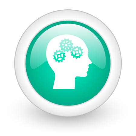 brainy: head round glossy web icon on white background