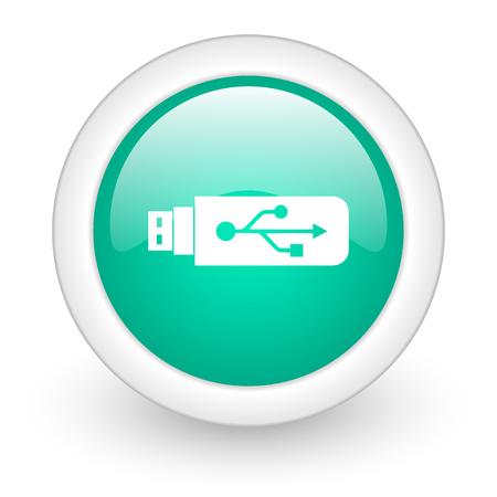 usb pendrive: usb round glossy web icon on white background