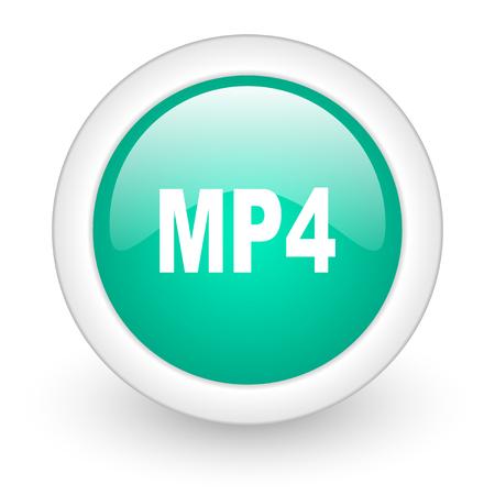 mp4: mp4 round glossy web icon on white background Stock Photo