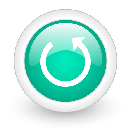 rotate: rotate round glossy web icon on white background
