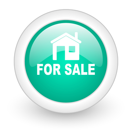for sale: for sale round glossy web icon on white background Stock Photo