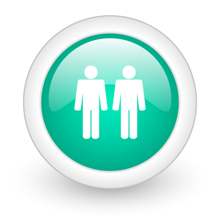 homosexual wedding: Gay couple round glossy web icon on white background