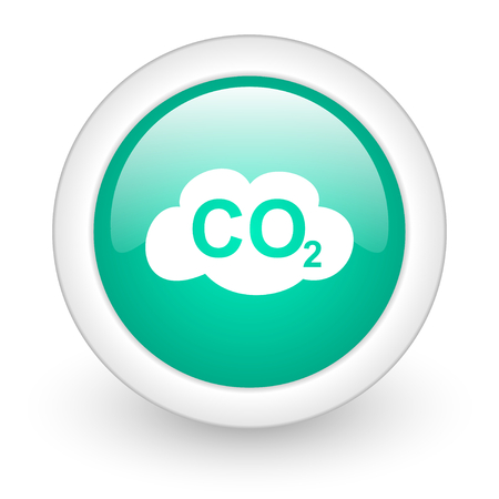 co2: carbon dioxide round glossy web icon on white background