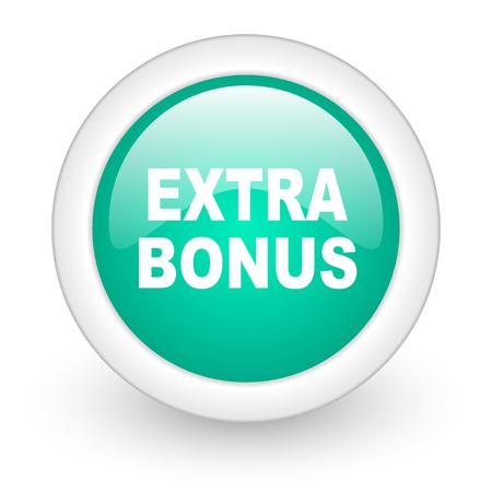 discounting: extra bonus round glossy web icon on white background