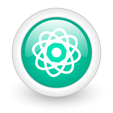 gamma radiation: atom round glossy web icon on white background
