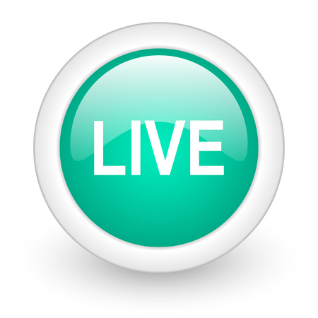 news cast: live round glossy web icon on white background