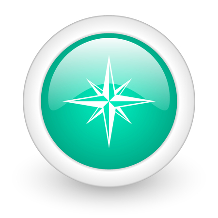 geodesy: compass round glossy web icon on white background