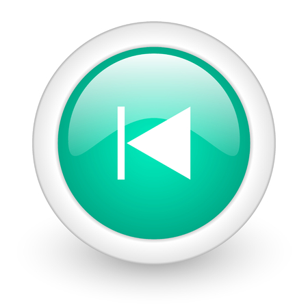 eject: prev round glossy web icon on white background