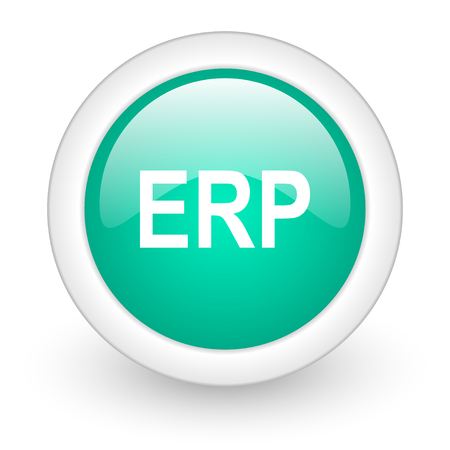 erp: erp round glossy web icon on white background Stock Photo