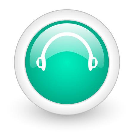 telemarketer: headphones round glossy web icon on white background Stock Photo