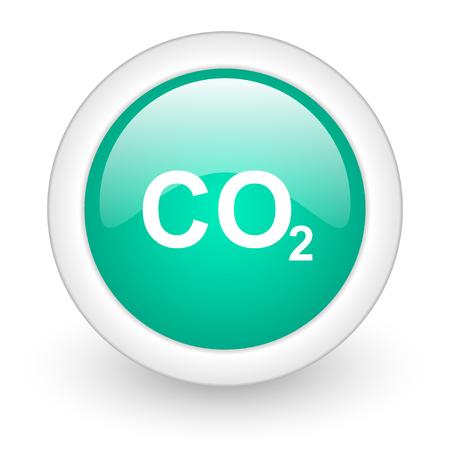 dioxido de carbono: el dióxido de carbono ronda icono de la web brillante sobre fondo blanco